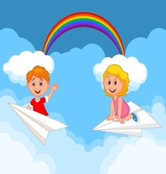 Cartoon kids on a paper plane vector image vector image