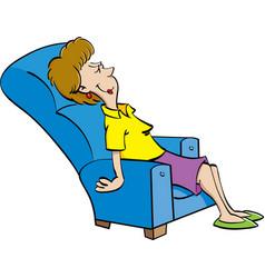 Cartoon woman resting in a chair vector