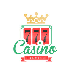 casino premium logo colorful gambling vintage vector image