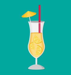 cocktail flat icon vector image vector image