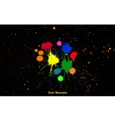 Colorful bright ink splashes over black vector image vector image