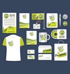 corporate identity template with green olive twig vector image
