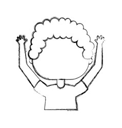 Cute little boy with hands up character vector