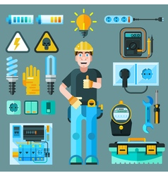Electrician icons set vector