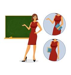Female teacher with blackboard vector