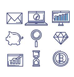 Fintech set flat icons vector
