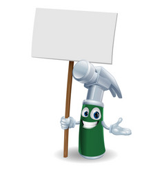 Hammer mascot holding sign vector