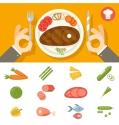 Hands cutlery plate food icon set restaurant vector