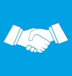 Handshake icon white vector