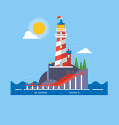 Lighthouse on rock stones island cartoon vector