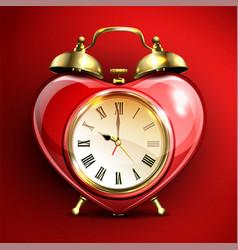Metal retro style alarm clock in heart form vector