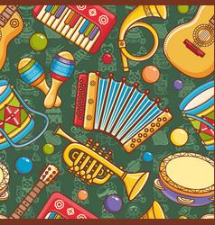 Musical instrument seamless pattern cartoon style vector