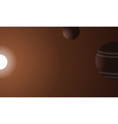 Outer space sun and planet vector