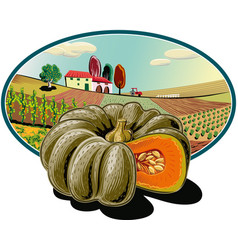 Oval frame with agricultural landscape and pumpkin vector