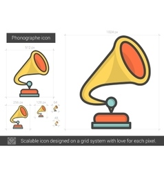 Phonographe line icon vector