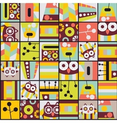 Seamless pattern with cell owls vector image vector image