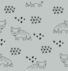Seamless pattern with foxes decorative background vector