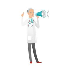 Senior caucasian doctor talking into loudspeaker vector