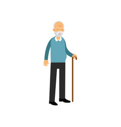 senior man standing with cane pensioner people vector image vector image
