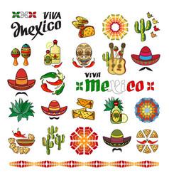 Viva mexico icon set of cute various mexican vector