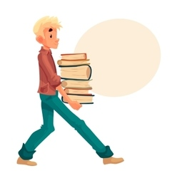 Blond boy carrying a pile of books vector