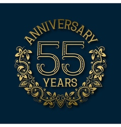 Golden emblem of fifty fifth years anniversary vector