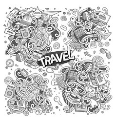 Set of travel planning objects and symbols vector