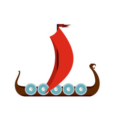 Medieval boat icon flat style vector