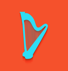Musical instrument harp sign whitish icon vector
