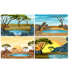 Four scenes of savanna field with waterhole vector