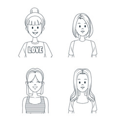 young girls cartoon vector image