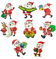 Santa Claus and his reindeer vector image