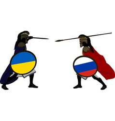 Ukrainian and russian warriors vector
