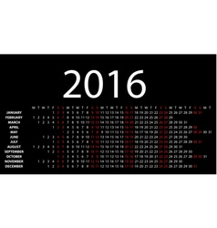 Horizontal calendar for 2016 vector