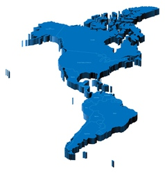 3d map of americas vector