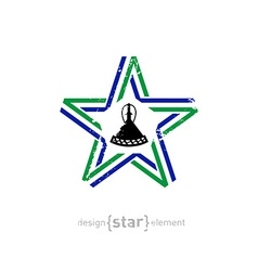 Star with lesotho flag colors symbol and grunge vector