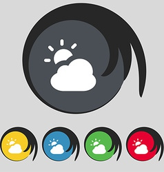 Weather icon sign symbol on five colored buttons vector