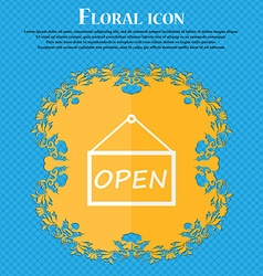 Open icon sign floral flat design on a blue vector