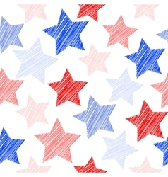 Sketch seamless pattern with stars red blue vector