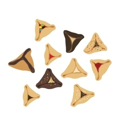 Set of few different tasty hamantaschen vector