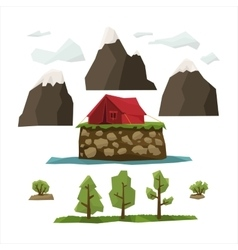 Hiking landscape elements set vector