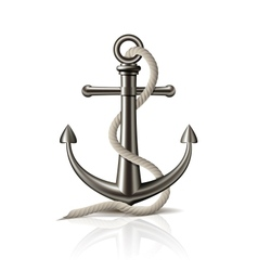 Anchor with rope on white background vector image vector image