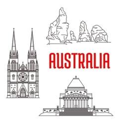 Australian travel landmarks linear icon vector