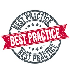 Best practice red round grunge vintage ribbon vector