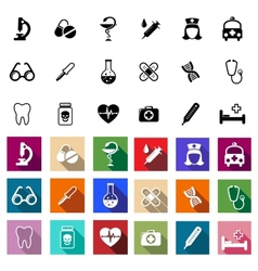 Black and coloured flat medical icons vector image vector image