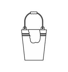 Bucket with a rag icon outline style vector