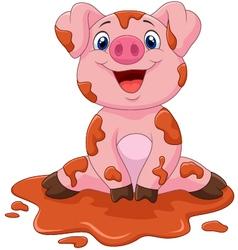 Cartoon cute baby pig vector image