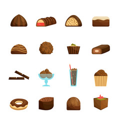 chocolate sweets set vector image