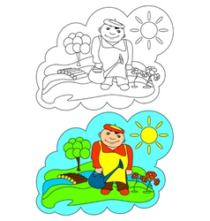 Color-in Gardener vector image vector image