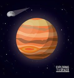 Colorful poster exploring the space with planet vector